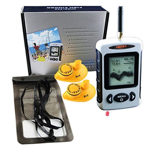 vom Ufer angeln mit einem Lucky FFW-718 Fishfinder Wireless Set